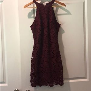 Lulu's Maroon Lace Bodycon Dress